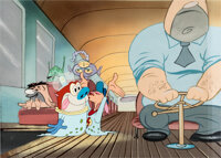 """The Ren and Stimpy Show """"Black Hole"""" Production Cel Setup with Key Master Background and Animation Drawing (Sp..."""