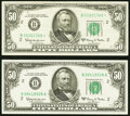 Fr. 2113-B; B* $50 1963A Federal Reserve Notes. Choice Crisp Uncirculated; Very Fine-Extremely Fine. ... (Total: 2)