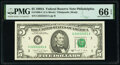 Near Solid Serial Number 22222221 Fr. 1980-C $5 1988A Federal Reserve Note. PMG Gem Uncirculated 66 EPQ