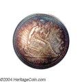 Proof Seated Quarters: , 1868 25C PR65 PCGS. An array of breathtaking iridescent ...