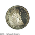 Proof Seated Quarters: , 1872 25C PR65 Cameo PCGS. Dappled violet toning is ...
