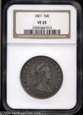 Early Half Dollars: , 1801 50C VF25 NGC. O-102, R.4 The left base of the first ...