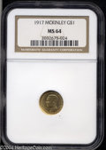 Commemorative Gold: , 1917 G$1 McKinley MS64 NGC. Well struck with lovely satin-...