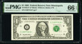 Small Size:Federal Reserve Notes, Fr. 1922-I* $1 1995 Federal Reserve Star Note. PMG Gem Unc...