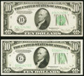Small Size:Federal Reserve Notes, Fr. 2008-B $10 1934C Federal Reserve Note. Choice Crisp Uncirculated;. Fr. 2009-G $10 1934D Federal Reserve Note. Choice C... (Total: 2 notes)