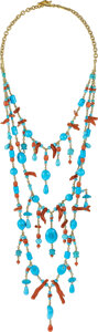 Estate Jewelry:Necklaces, Paul Morelli Coral, Turquoise, Gold Necklace. ...