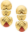 Estate Jewelry:Earrings, Nardi Coral, Gold Earrings Stones: Carved cora...