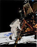 """Explorers:Space Exploration, Buzz Aldrin Signed Large Apollo 11 """"Descending the Eagle's Ladder"""" Color Photo, Originally from His Personal Colle..."""