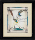 Autographs:Others, Joe DiMaggio & Ted Williams Signed Bugs Bunny Print.