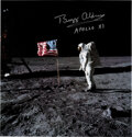 Explorers:Space Exploration, Buzz Aldrin Signed Apollo 11 Lunar Surface American Flag Color Photo, Originally from His Personal Collection....