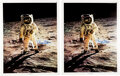 """Explorers:Space Exploration, Buzz Aldrin Signed Large Apollo 11 Lunar Surface """"Visor"""" Color Posters (Two), Originally from His Personal Collection.... (Total: 2 Items)"""