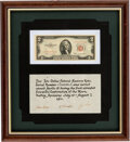 Explorers:Space Exploration, Apollo 15 Flown and Signed Two Dollar Bill, also Signed on the Presentation Certificate....