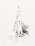 """Explorers:Space Exploration, Apollo 11: Michael Collins and Paul Calle Signed Limited Edition, #AP16/25, """"Apollo XI Liftoff"""" Print, from the Calle Family C..."""
