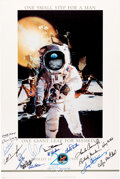 Explorers:Space Exploration, Apollo 11: 20th Anniversary Poster Signed by Sixteen Astronauts and Ground Crew including Neil Armstrong....