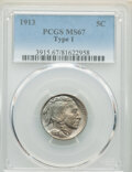 Buffalo Nickels, 1913 5C Type One MS67 PCGS. PCGS Population: (671/32). NGC Census: (347/32). CDN: $575 Whsle. Bid for NGC/PCGS MS67. Mintag...