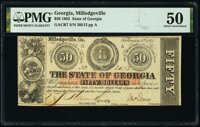 Milledgeville, GA- State of Georgia $50 Feb. 2, 1863 Cr. 7 PMG About Uncirculated 50