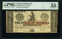 Milledgeville, GA- State of Georgia $5 Jan. 15, 1862 Cr. 5 PMG About Uncirculated 55 EPQ