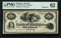 Obsoletes By State:Michigan, Marshall, MI- Bank of Michigan $1 18__ G2 Remainder PMG Uncirculated 62.. ...