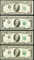 Small Size:Federal Reserve Notes, Fr. 2010-B $10 1950 Wide Federal Reserve Note. About Uncirculated;. Fr. 2016-K $10 1963 Federal Reserve Note. About Uncirc... (Total: 4 notes)
