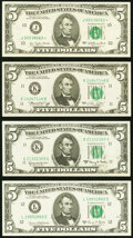 Small Size:Federal Reserve Notes, Fr. 1968-K $5 1963A Federal Reserve Note. Choice About Uncirculated;. Fr. 1972-L $5 1969C Federal Reserve Note. Choice Cri... (Total: 4 notes)