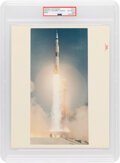 """Explorers:Space Exploration, Apollo 11 Vintage NASA """"Red Number"""" Color Photo, Image S-69-39528, PSA Authenticated and Encapsulated with Certification Numbe..."""