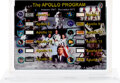 Explorers:Space Exploration, Apollo Mission Collection: Acrylic Display containing Flown Relics from Apollo 4, and 7 through 17, with COA....