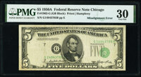 Shifted Third Printing Error Fr. 1962-G $5 1950A Federal Reserve Note. PMG Very Fine 30
