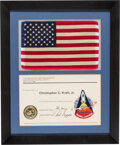 Explorers:Space Exploration, Space Shuttle Columbia (STS-1) Flown Large American Flag and Embroidered Mission Insignia Patch Directly from the ...