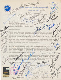 Silver Snoopy Award Featuring Letter with Forty-Two Astronaut Signatures
