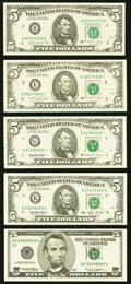 Small Size:Federal Reserve Notes, Fr. 1979-B $5 1988 Federal Reserve Note. Choice Crisp Uncirculated;. Fr. 1980-E* $5 1988A Federal Reserve Star Note. Choic... (Total: 5 notes)