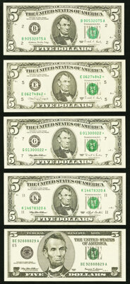 Fr. 1979-B $5 1988 Federal Reserve Note. Choice Crisp Uncirculated; Fr. 1980-E* $5 1988A Federal Reserve Star Note. Choi...
