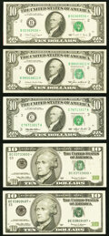 Small Size:Federal Reserve Notes, Fr. 2027-B $10 1985 Federal Reserve Note. Choice Crisp Uncirculated;. Fr. 2029-B* $10 1990 Federal Reserve Star Note. Abou... (Total: 5 notes)