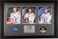 Explorers:Space Exploration, Apollo 11: Matching Individually-Signed White Spacesuit Color Photos (Uninscribed) with Embroidered NASA and Apollo 11 Mission...