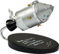 Explorers:Space Exploration, Apollo Command/Service Module 1/48 Model on Wooden Base Signed by Apollo 13 LMP Fred Haise, with Zarelli LOA....
