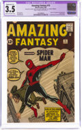 Silver Age (1956-1969):Superhero, Amazing Fantasy #15 (Marvel, 1962) CGC Apparent VG- 3.5 Moderate (C-3) Cream to off-white pages....