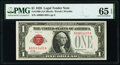Small Size:Legal Tender Notes, Low Serial Number 1403 Fr. 1500 $1 1928 Legal Tender Note. PMG Gem Uncirculated 65 EPQ.. ...