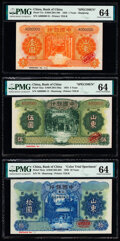 World Currency, China Bank of China, Shantung 1; 5; 10 Yuan 1934 (2); 1935 Pick 71s; 72as; 75cts Specimen (2); Color Trial Specimen PMG Ch... (Total: 3 notes)