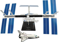 NASA International Space Station (I.S.S.) 1/100 Model in Original Wooden Shipping Case [with] Space Shuttle Col