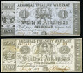 Obsoletes By State:Arkansas, (Little Rock), AR- Arkansas Treasury Warrant $1 July 15, 1863 Cr. 32A; $2 July 31, 1863 Cr. 36A Very Fine or Better.. ... (Total: 2 notes)