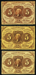 5¢ First Issue Triumvirate. Fr. 1228 Choice New; Fr. 1229 (2) About New; VF-XF