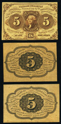 Fractional Currency:First Issue, Fr. 1231SP 5¢ First Issue Narrow Margin Specimens Three Examples.. ... (Total: 3 notes)