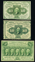 Fractional Currency:First Issue, Fr. 1240 10¢ First Issue Choice New;. Fr. 1243 10¢ First Issue Choice About New;. Fr. 1312 50¢ Firs...