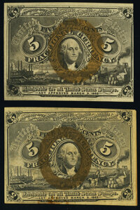 Fr. 1232 5¢ Second Issue New; Fr. 1233 5¢ Second Issue New. ... (Total: 2 notes)