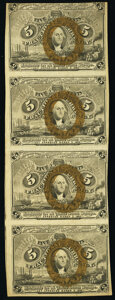 Fr. 1233 5¢ Second Issue Uncut Strip of Four Very Fine