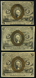 Fr. 1232 5¢ Second Issue New; Fr. 1233 5¢ Second XF-About New; Fr. 1234 5¢ Second Issue Choice Ab