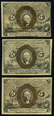 Fr. 1232 5¢ Second Issue New; Fr. 1233 5¢ Second XF-About New; Fr. 1234 5¢ Second Issue Choice About New...