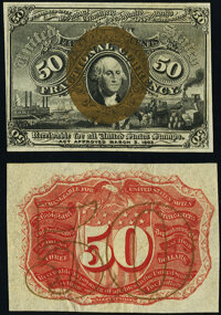 Fr. 1314SP 50¢ Second Issue Narrow Margin Pair Specimens New. ... (Total: 2 notes)