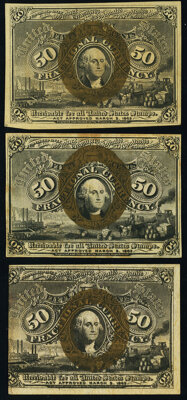 Fr. 1316 50¢ Second Issue New; Fr. 1318 50¢ Second Issue Choice About New; Fr. 1322 50¢ Second Issue New...