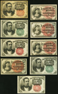 10¢ Fourth and Fifth Issue Fractional Nonet. Fr. 1257 About New; Fr. 1258 Choice About New;</... (Total: 9)