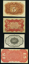 Fractional Currency:Second Issue, Quartet of Narrow Margin Back Specimens.. Fr. 1232SP 5¢ Second Issue;. Fr. 1236SP 5¢ Third Issue;. Fr. 1243SP 10¢ ... (Total: 4 notes)